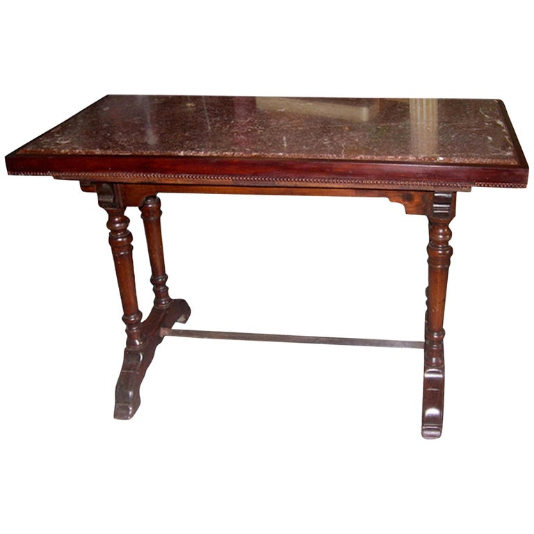 French 1930s Bistro Table on Walnut and Iron Frame with Red Marble Top For Sale