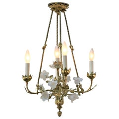 French 1930s Bronze Chandelier with Crystal Flowers
