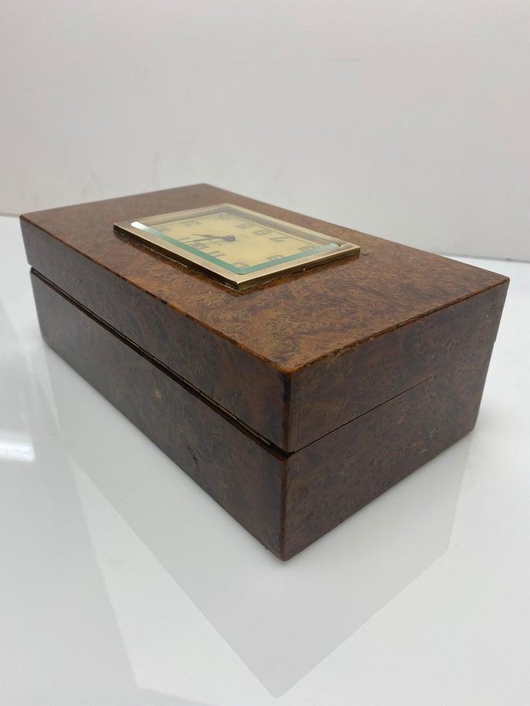 Modern French 1930s Burlwood Clock Box For Sale