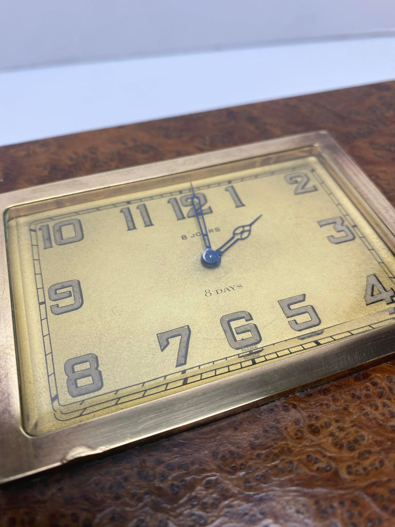 Mid-20th Century French 1930s Burlwood Clock Box For Sale