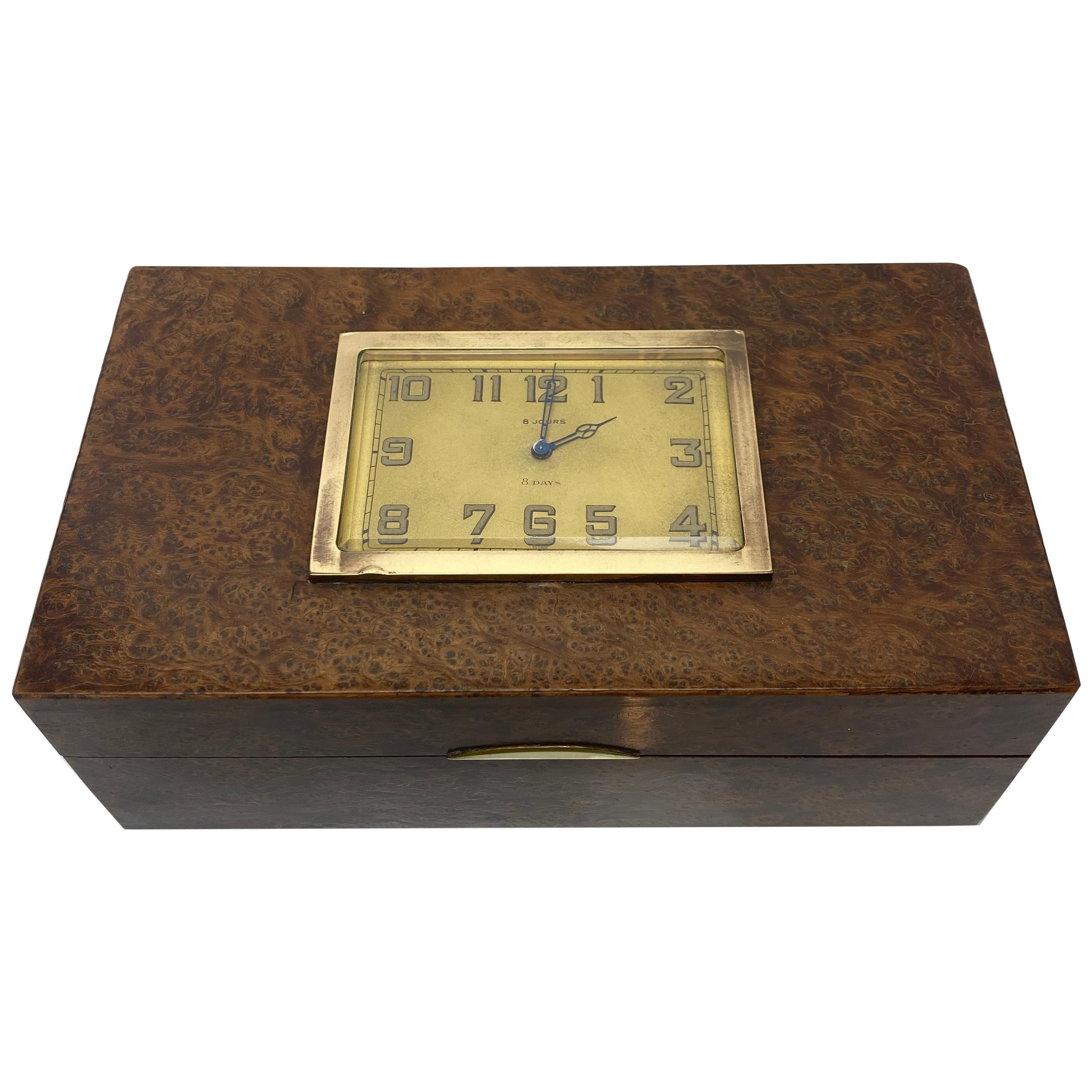 French 1930s Burlwood Clock Box