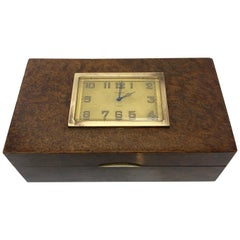 French 1930s Burlwood Clock Box