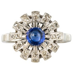French 1930s Art Deco Cabochon Sapphire Diamonds Round Ring