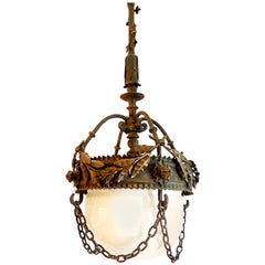 French 1930s Cast Iron Lantern with Milk Glass Shade and Chain Surround