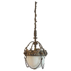 French 1930s Cast Iron Pendant with Milk Glass Shade and Chain Surround