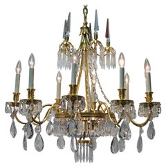 French 1930s Crystal and Bronze Doré Chandelier