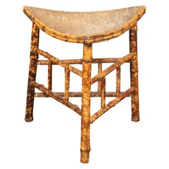 French 1930s Egyptian Revival Faux Bamboo Thebes Stool with Curving Rattan Seat