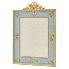 French 1930s Gilt Bronze and Blue Silk Photo Frame