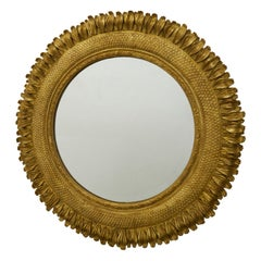 French 1930s Giltwood Sunflower Mirror with Petals and Crosshatched Motifs