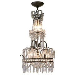 French 1930s Handcrafted Crystal Chandelier