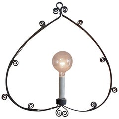 French 1930s Hand Forged Wrought Iron Single Light Pendant.