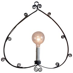 French 1930s Hand Forged Wrought Iron Single Light Pendant