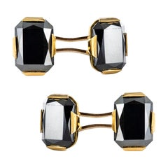 French 1930s Hematite 18 Karat Yellow Gold Cufflinks