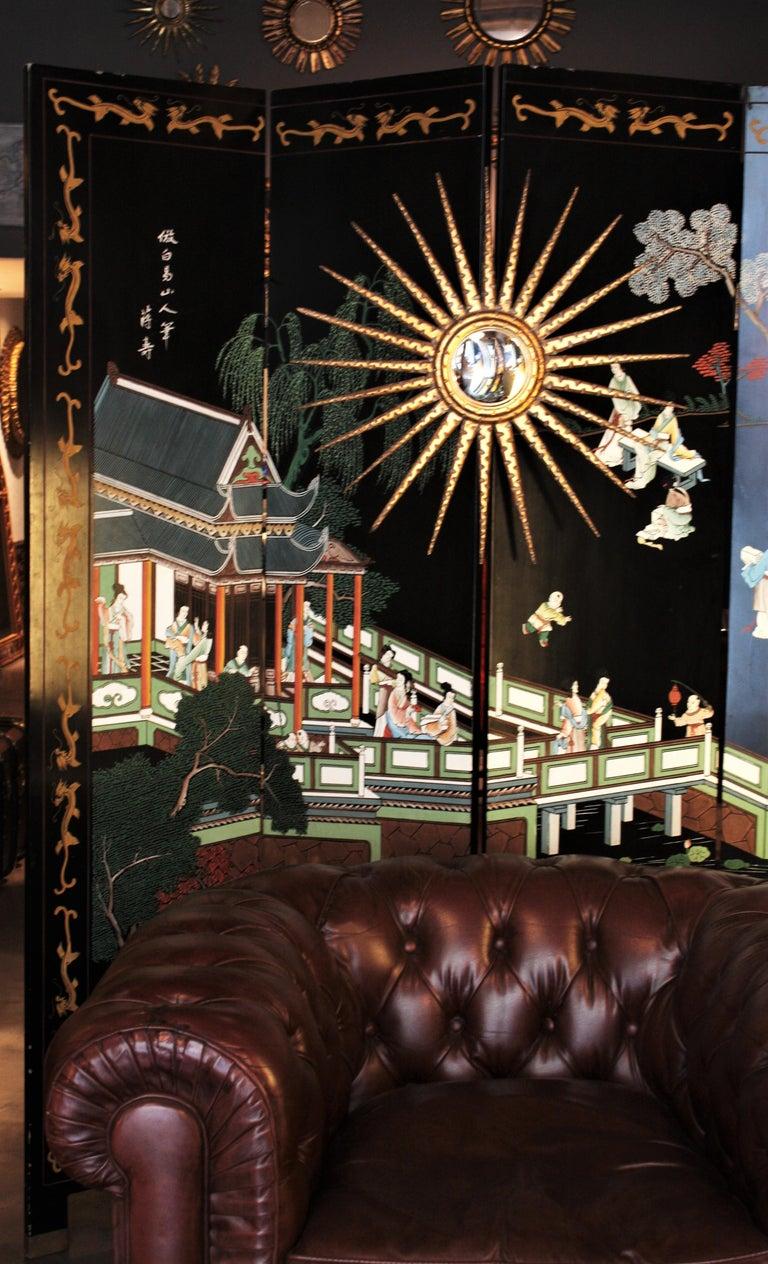 French 1930s Hollywood Regency Giltwood Starburst Sunburst Convex Mirror For Sale 5