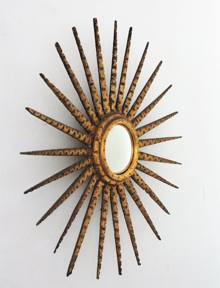 French 1930s Hollywood Regency Giltwood Starburst Sunburst Convex Mirror For Sale 6