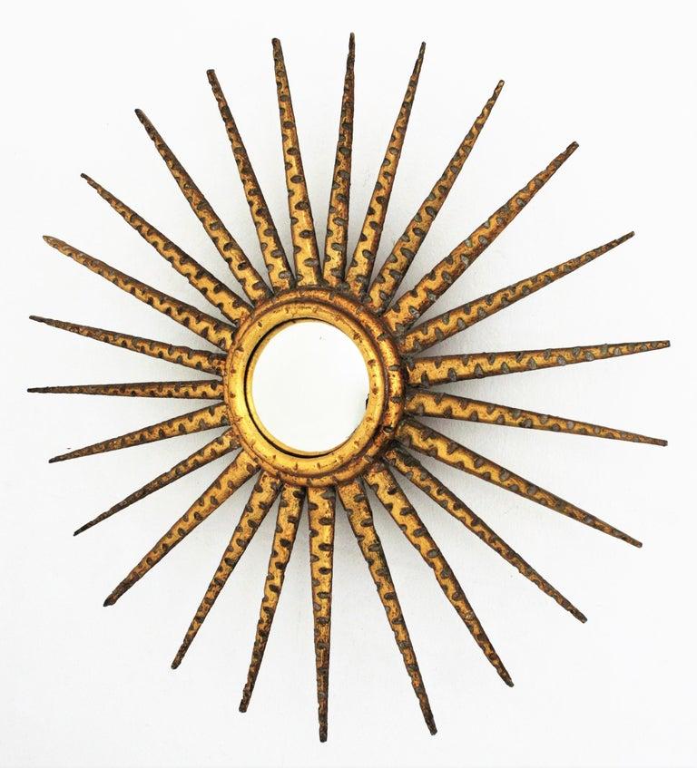 French 1930s Hollywood Regency Giltwood Starburst Sunburst Convex Mirror For Sale 7