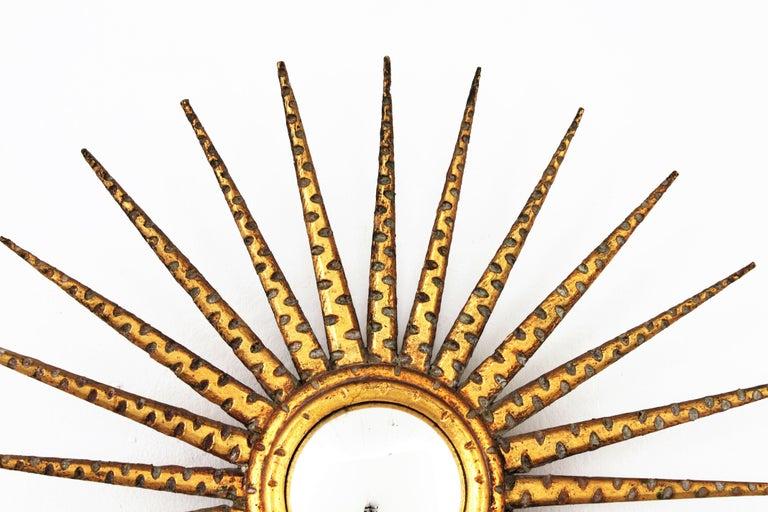 French 1930s Hollywood Regency Giltwood Starburst Sunburst Convex Mirror For Sale 11