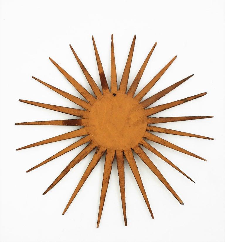 French 1930s Hollywood Regency Giltwood Starburst Sunburst Convex Mirror For Sale 12
