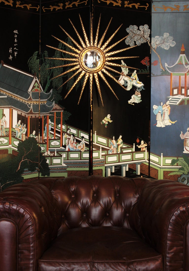 20th Century French 1930s Hollywood Regency Giltwood Starburst Sunburst Convex Mirror For Sale