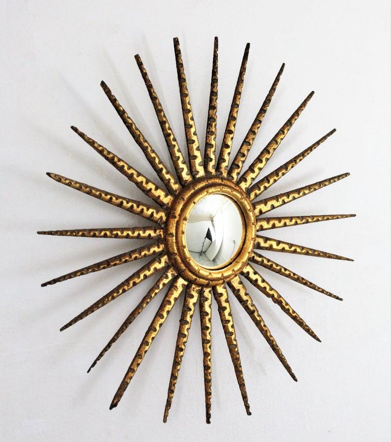 French 1930s Hollywood Regency Giltwood Starburst Sunburst Convex Mirror For Sale 2