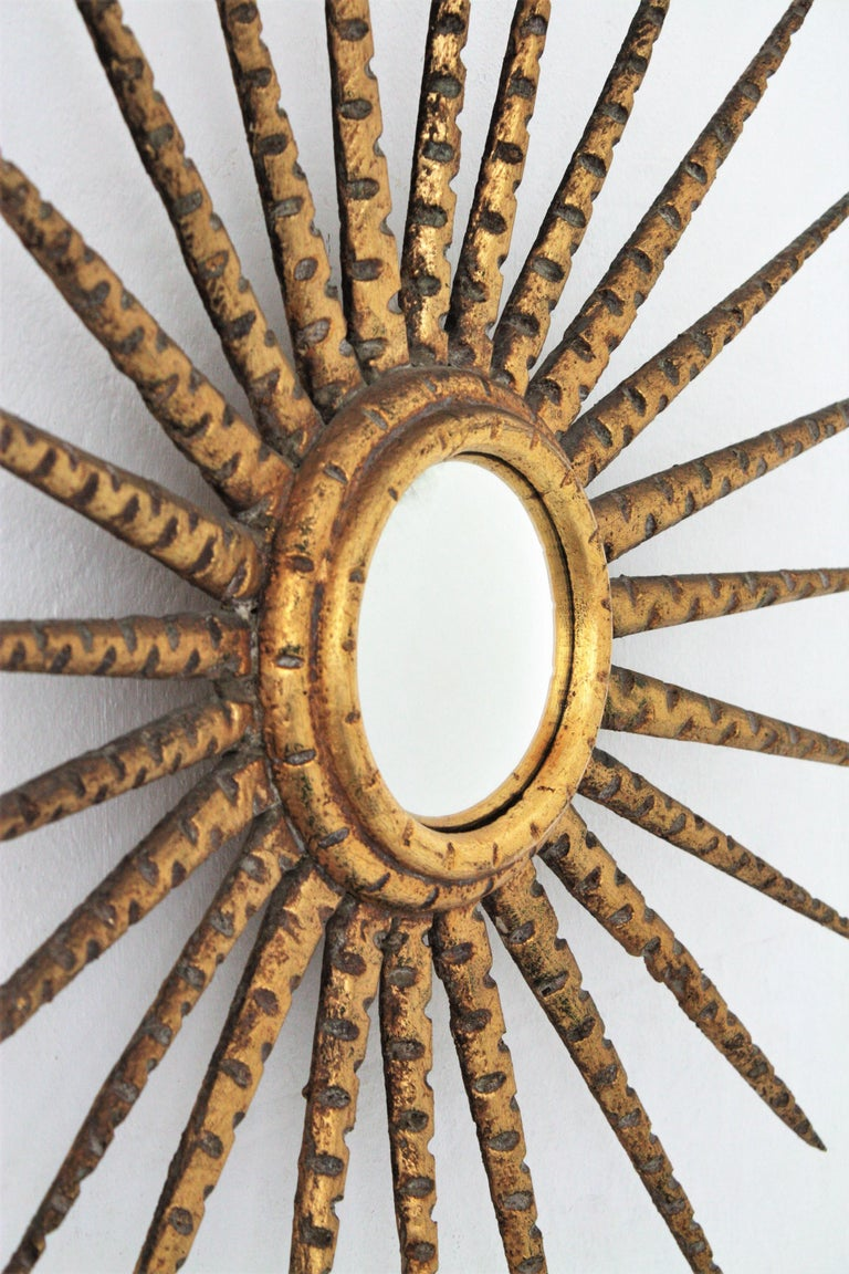 French 1930s Hollywood Regency Giltwood Starburst Sunburst Convex Mirror For Sale 3