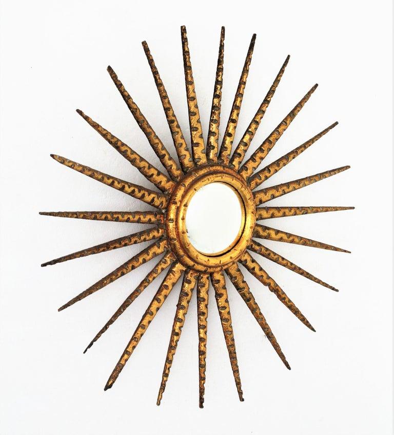 French 1930s Hollywood Regency Giltwood Starburst Sunburst Convex Mirror For Sale 4