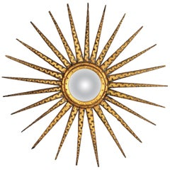 French 1930s Hollywood Regency Giltwood Starburst Sunburst Convex Mirror