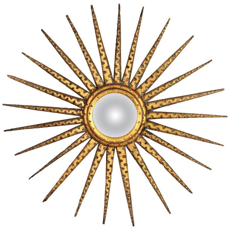 French 1930s Hollywood Regency Giltwood Starburst Sunburst Convex Mirror For Sale
