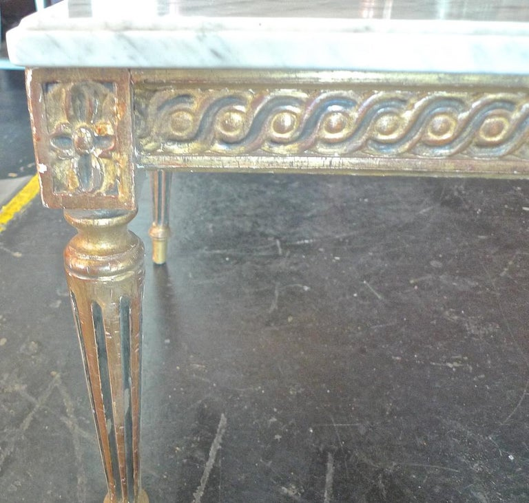 French Marble Top Coffee Table C 1930: French 1930s Louis XVI Style Coffee Table With Marble Top