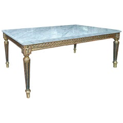 French 1930s Louis XVI Style Coffee Table with Removable Marble Top