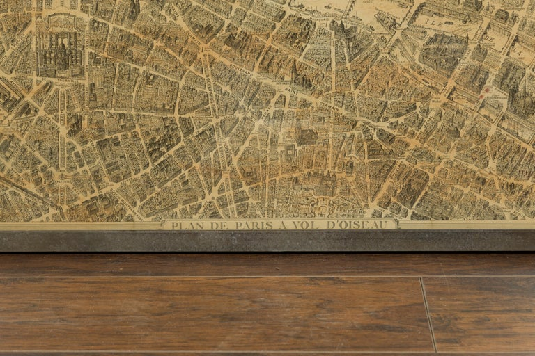 French 1930s Map of Paris à Vol d'Oiseau under Glass in Custom Iron Frame For Sale 5