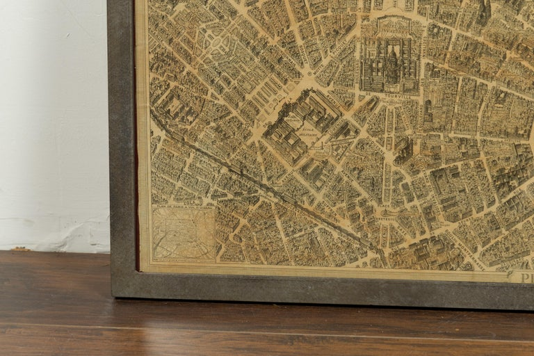 French 1930s Map of Paris à Vol d'Oiseau under Glass in Custom Iron Frame For Sale 6