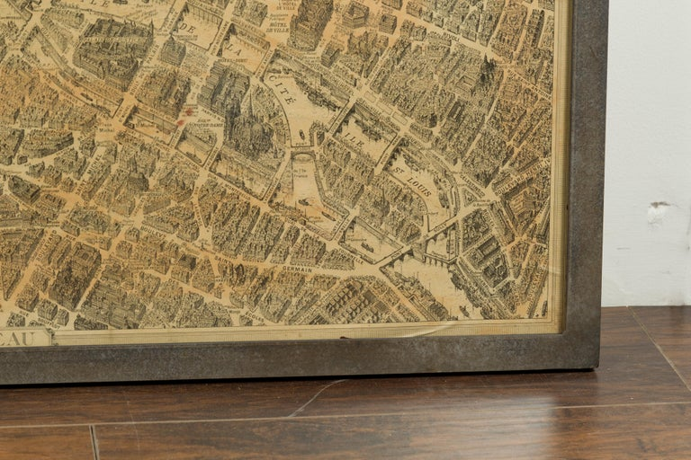 French 1930s Map of Paris à Vol d'Oiseau under Glass in Custom Iron Frame For Sale 7