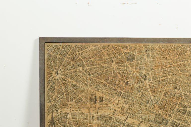 French 1930s Map of Paris à Vol d'Oiseau under Glass in Custom Iron Frame In Good Condition For Sale In Atlanta, GA