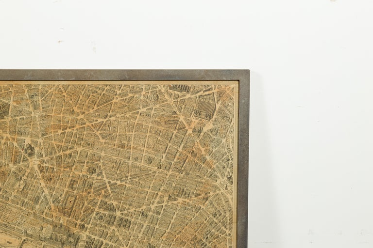 20th Century French 1930s Map of Paris à Vol d'Oiseau under Glass in Custom Iron Frame For Sale