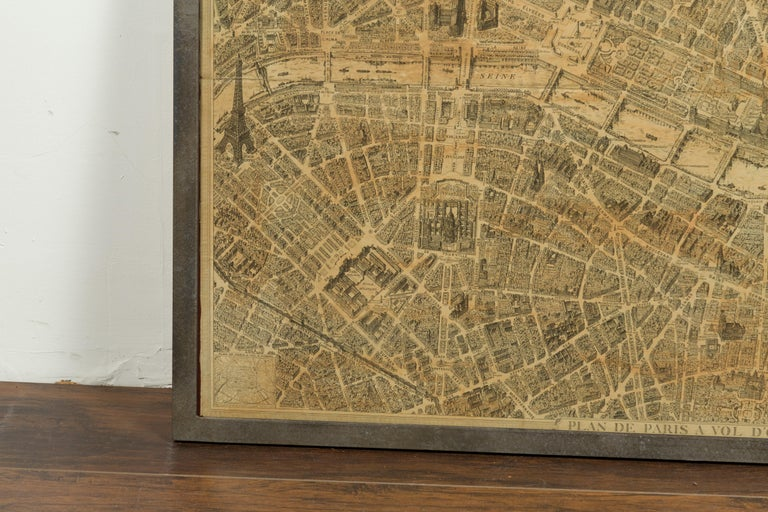 Paper French 1930s Map of Paris à Vol d'Oiseau under Glass in Custom Iron Frame For Sale