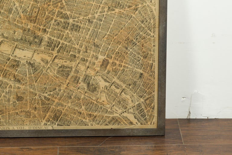 French 1930s Map of Paris à Vol d'Oiseau under Glass in Custom Iron Frame For Sale 1