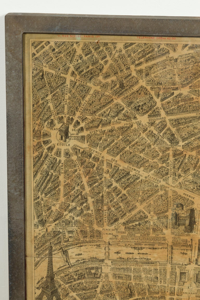 French 1930s Map of Paris à Vol d'Oiseau under Glass in Custom Iron Frame For Sale 2