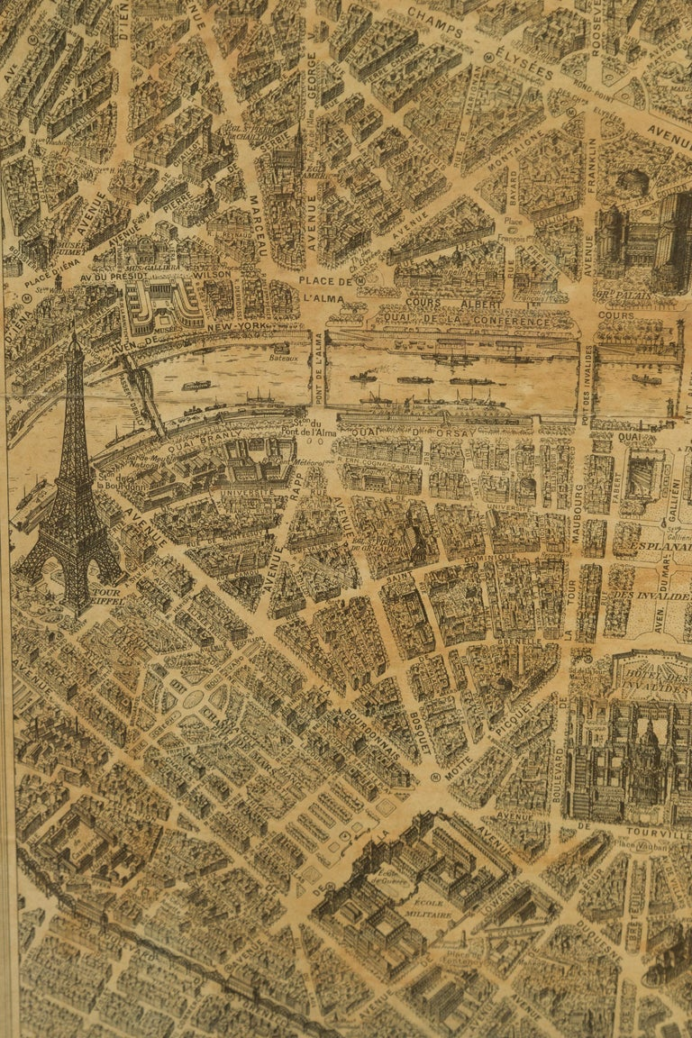 French 1930s Map of Paris à Vol d'Oiseau under Glass in Custom Iron Frame For Sale 3