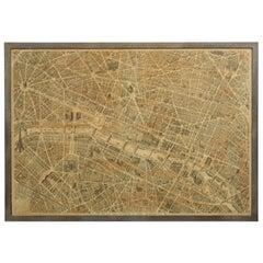 French 1930s Map of Paris à Vol d'Oiseau under Glass in Custom Iron Frame