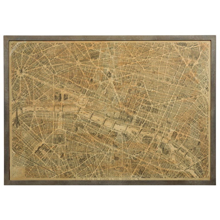 French 1930s Map of Paris à Vol d'Oiseau under Glass in Custom Iron Frame For Sale