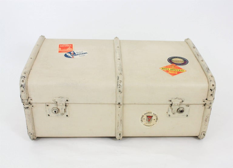 Painted French 1930s Mediterranean Antique Canvas and Wood Travel Trunk For Sale