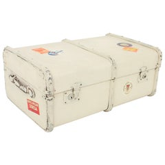 French 1930s Mediterranean Antique Canvas and Wood Travel Trunk