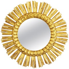 French 1930s Medium Sized Carved Giltwood Sunburst Mirror