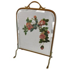 French 1930s Mirrored Fire Screen with Painted Flowers on Beveled Mirror Glass
