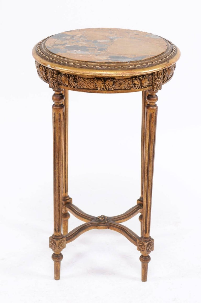 Gilt French 1930s Neoclassical Style Gilded Guéridon Table with Variegated Marble Top For Sale