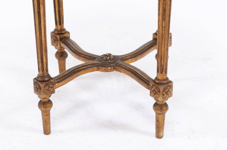 French 1930s Neoclassical Style Gilded Guéridon Table with Variegated Marble Top For Sale 1