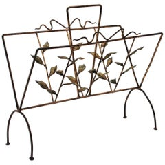 French 1930s Parcel-Gilt Wrought Iron Magazine Rack with Foliage Details