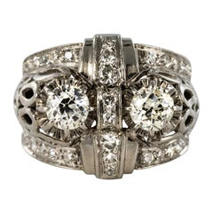 French 1930s Platinum 1.25 Carat Diamonds Art Deco Ring