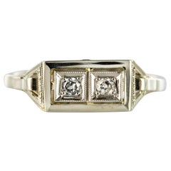 French 1930s Platinum 18 Karat White Gold Diamond Art Deco Ring